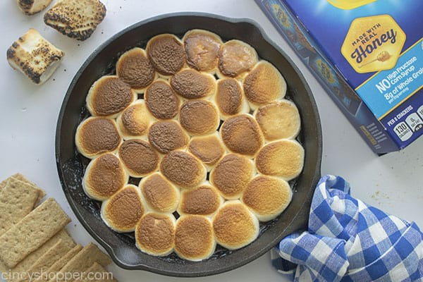 Pan with hot S'mores dip