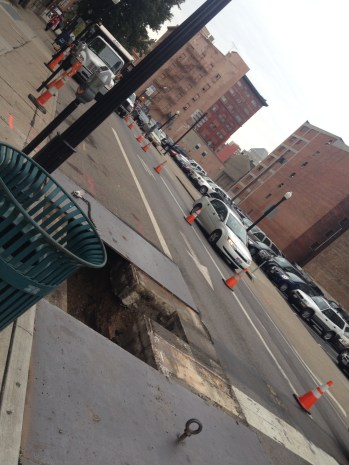 Exploratory digging for streetcar construction discovered a leaking gas line.
