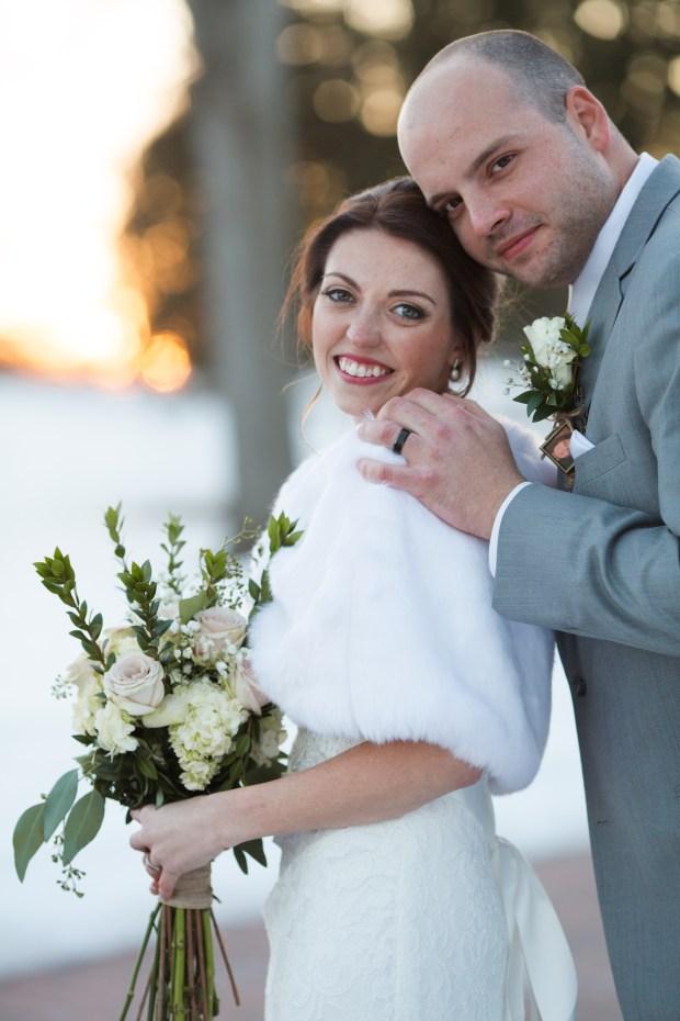 bride in groom in winter formals