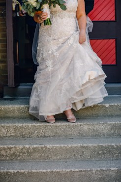 bride on stairs before saying i do