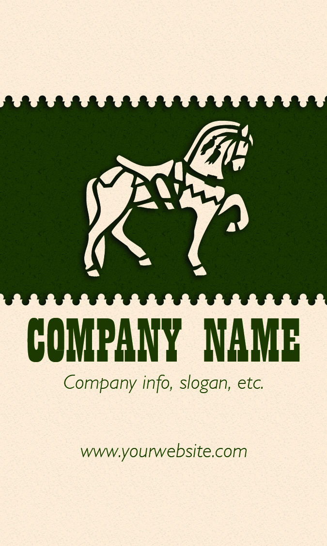 Equine Business Card Template 3 Front