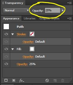 Change the ellipse's opacity to 25%.