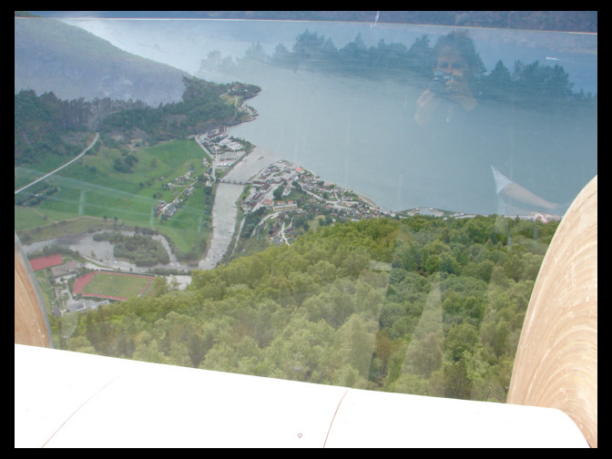 June 2006 - tourist looking down on Aurland