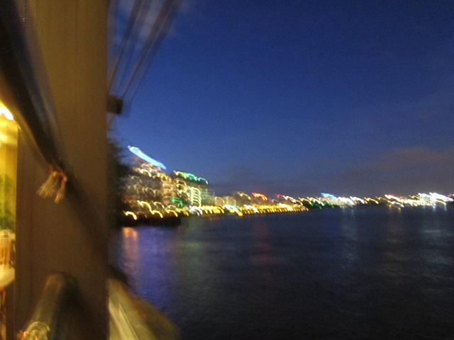 unfocused view of River Thames and our hotel
