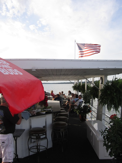 American flag on J&K houseboat