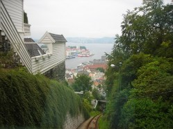 view of Bergen from partway up the tracks - August 6, 2007