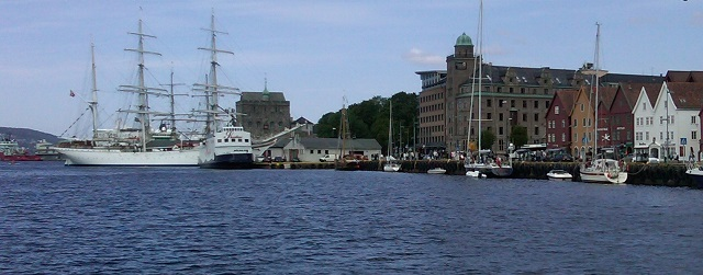 Bergen harbor with Rosenkranz Tower
