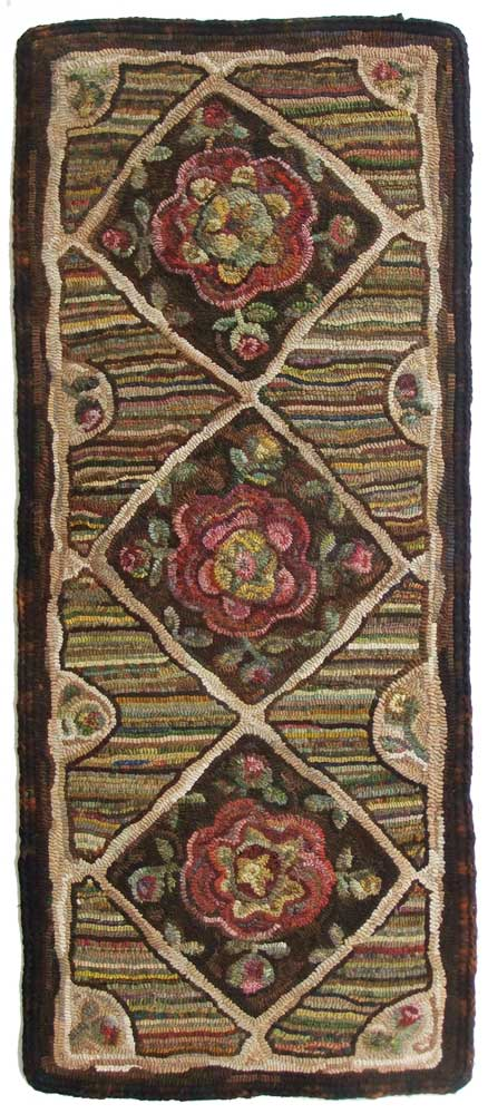 Antique Rose Runner hooked by Cindi Gay, design by Karen Kahle
