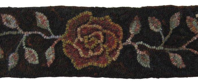 Kentucky Rose Queen rug hooking pattern for stair riser