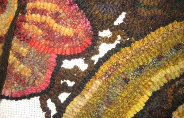 Day 434 of room sized hooked rug background step 1