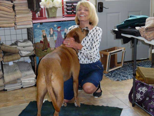 Ann and Jack at the rug hooking studio