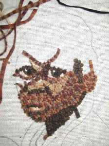step 4 of how to rug hook a face