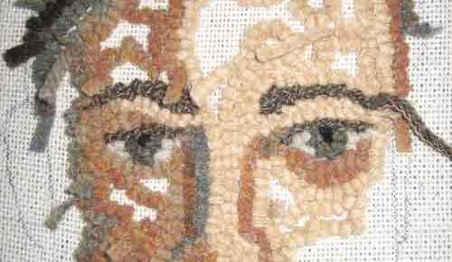 Rug hooking the second eye and the upper lip