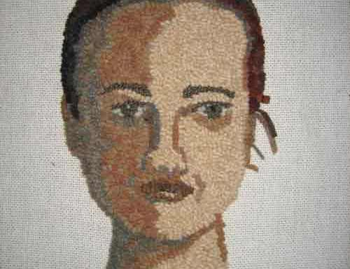 Rug Hooking a Face: Added the Neck