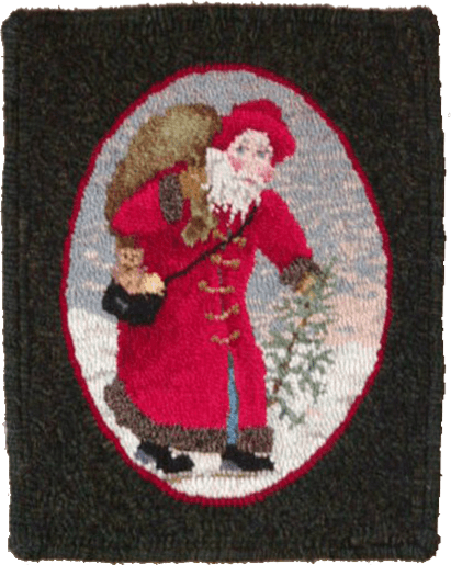 Christmas Past rug hooked mat