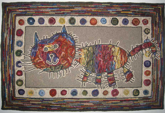 Ally's Cat rug hooked rug