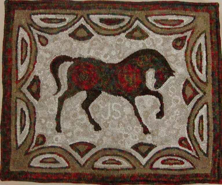Horse (Jacob) hooked rug