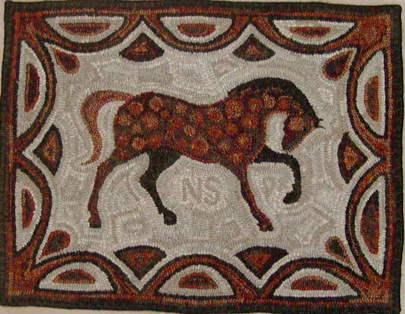 Horse (Nick) hooked rug