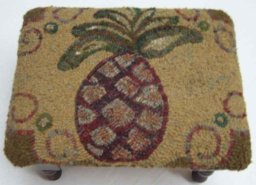 Pineapple rug hooked Footstool