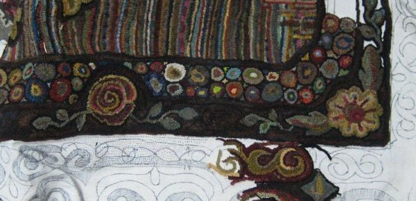 Alternate view of border of roomsized hooked rug by Cindi Gay