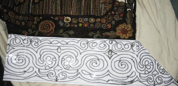Design for final border on room sized hooked rug