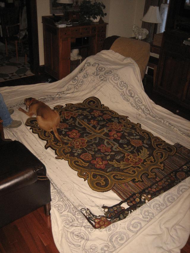 Room sized wool hooked rug