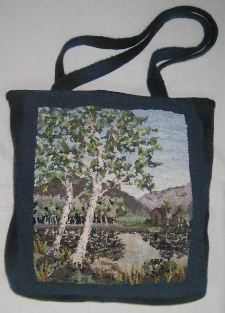 Rug hooked tote bag