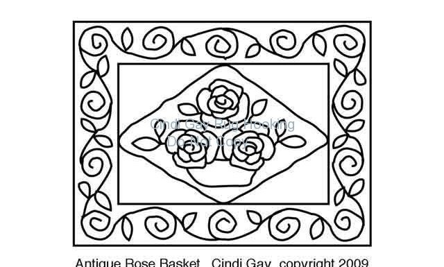 Antique Rose Basket - small Rug hooking pattern