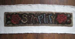 Simplify rug hooked stair riser in progress