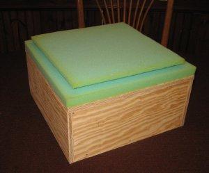 Step 3 add foam to rug hooked footstool