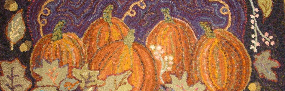 Missing June 2012, hooked by Linda Woodbury, Pumpkins and leaves