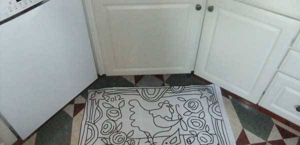 Chicken Doodle Do Rug Hooking Pattern in my kitchen