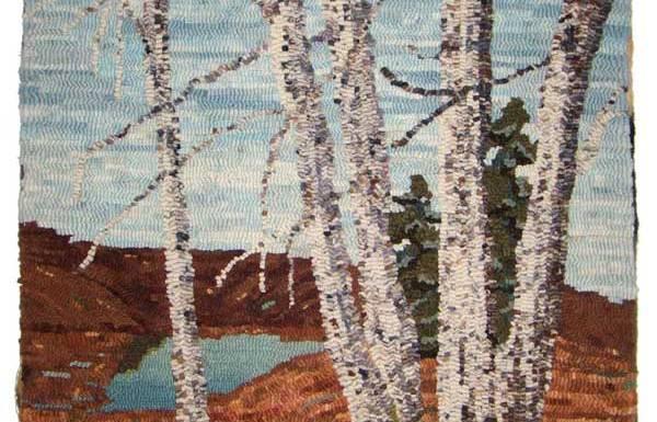 Birch bark hooked trees by Joanne Lindstrom