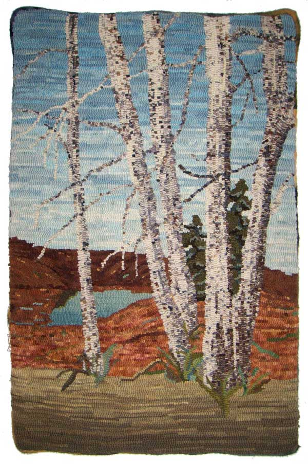 Rug hooked birch tree pictorial by Joanne Lindstrom