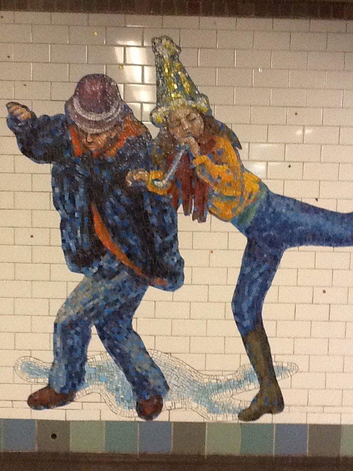Tile art NYC subway two people