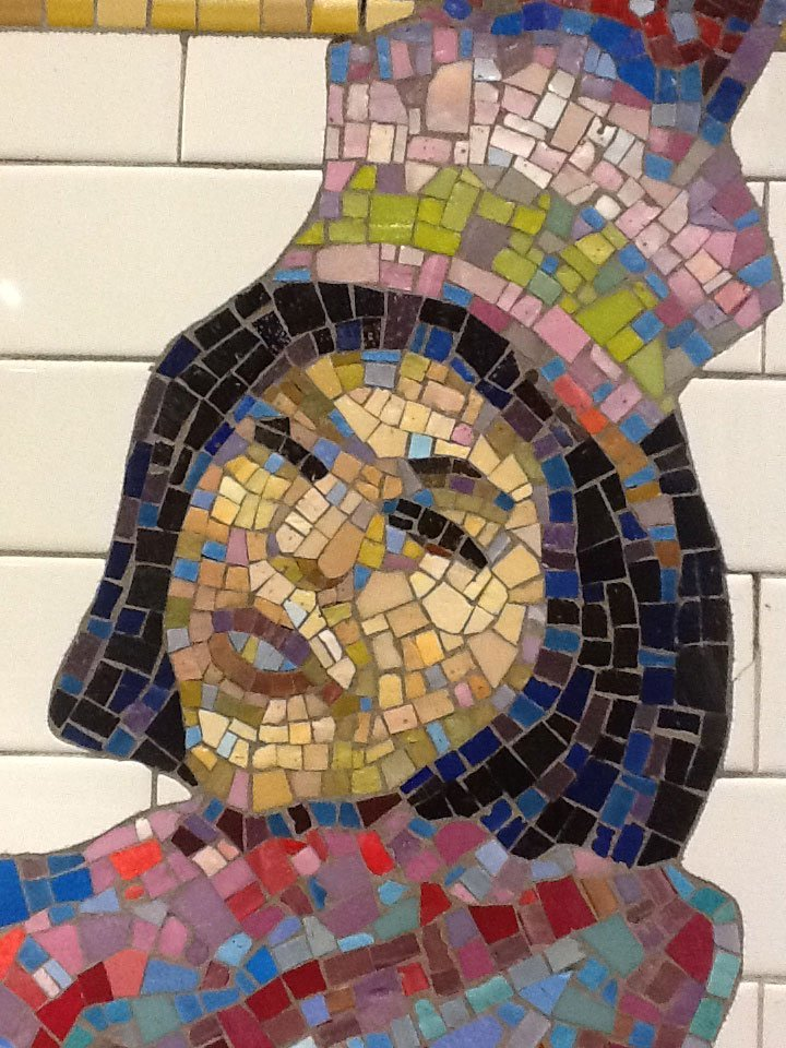 Tile art NYC subway woman with hat