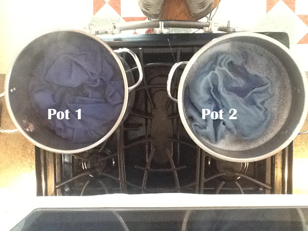 Wool dyeing in the pots on the stove for sky and water