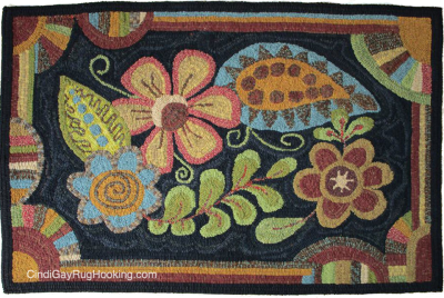 Floral Tangle hooked rug
