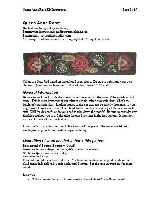 Downloadable instructions for Queen Anne Rose rug hooking pattern