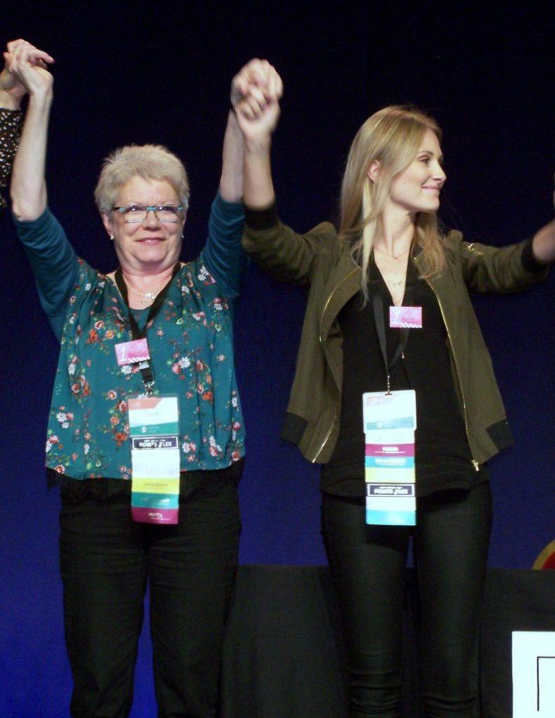 Yvette Lang et Élodie Bertrand sur le podium