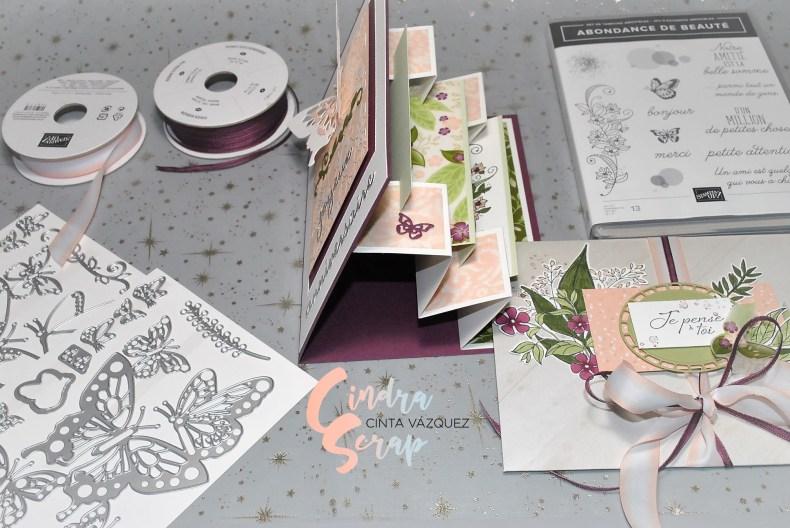Carte accordéon et enveloppe Douce Romance