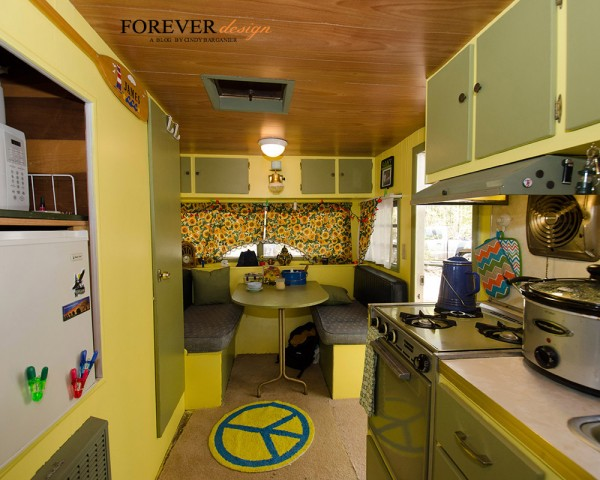wallpaper, banquettes and vintage campers