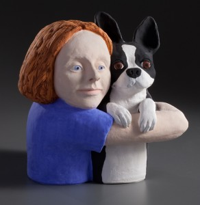 Kindred Spirits by Cindy Biles art clay ceramic sculpture dog figurative