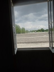 Dachau barracks looking out