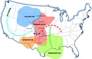 Map showing Tornado Alley