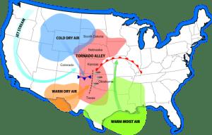 Map showing Tornado Alley
