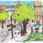 drawing of a city street