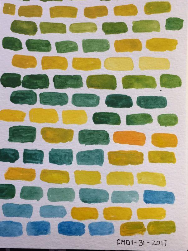 Painting of yellow and blue bricks