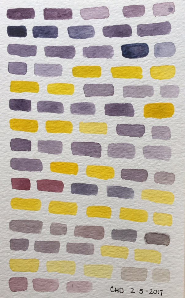 Painting of purple and yellow bricks