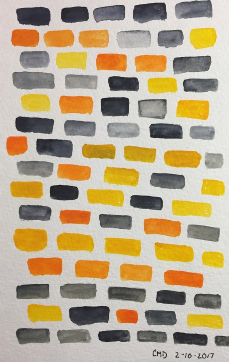 Watercolor painting of orange, blue, and yellow bricks
